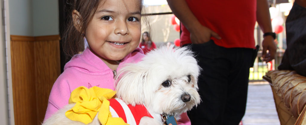 Little smiling girl holding Sophia the House dog